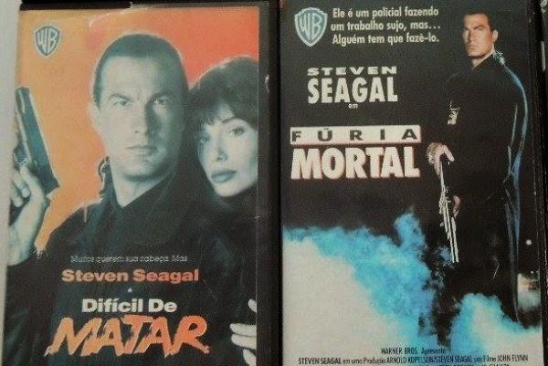 """coleco filmes steven seagal fitas vhs originais 9767 MLB20021511093 122013 F - Rebobinando o VHS - """"Difícil de Matar"""" / """"Fúria Mortal"""""""