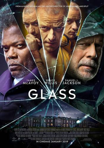 "vidro poster - Bruce Willis, Samuel L. Jackson e James McAvoy estampam novo pôster de ""Vidro"""